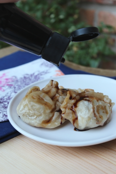 potstickers with soy sauce